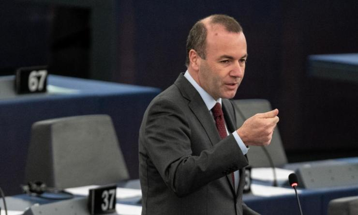 Manfred Weber speaking in the European parliament this morning.
