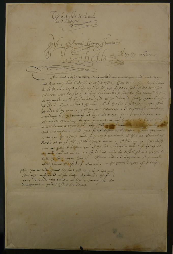 Elizabeth I's letter to Ralph Sadler, 3 December 1584