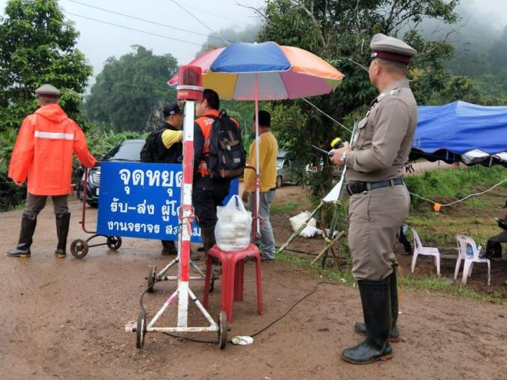 The road to the Tham Luang caves was blocked by police this morning to media