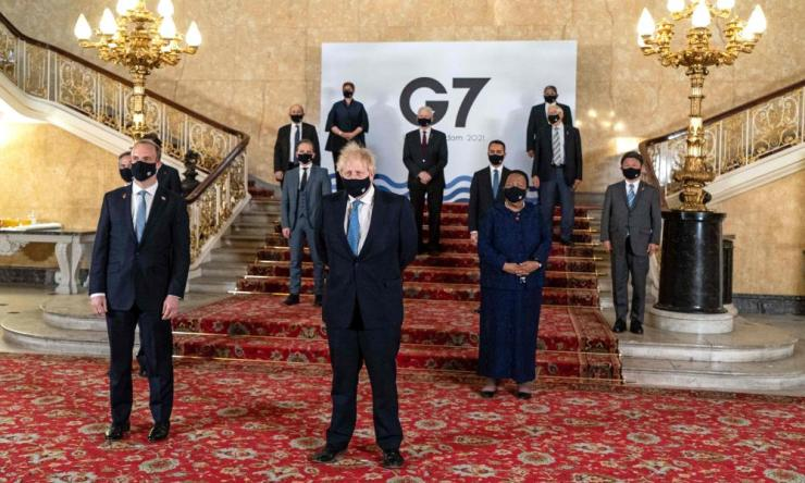 Britain's prime minister, Boris Johnson, and foreign secretary, Dominic Raab, among delegates at the G7 foreign ministers' meeting in London, 5 May