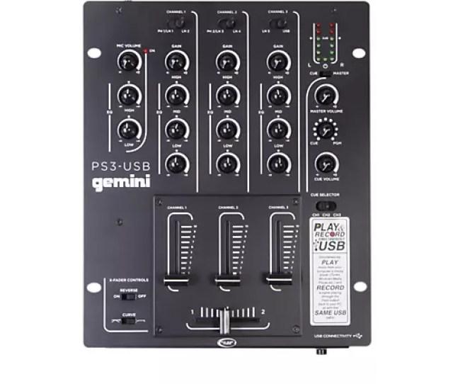 Gemini Ps3 Usb Professional 3 Channel Stereo Dj Mixer