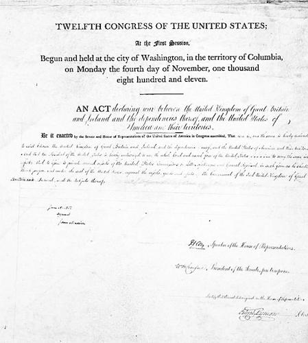 سند اعلان جنگ رسمی ایالات متحدهٔ امریکا در سال ۱۸۱۲