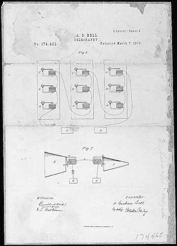 سند حق اختراع تلفن توسط الکساندر گراهام بل