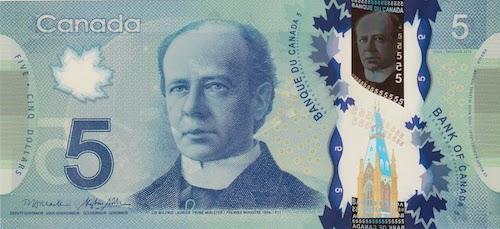 تصویر سر ویلفرید لوریه بر روی اسکناس ۵ دلاری چاپشده در سال ۲۰۱۳