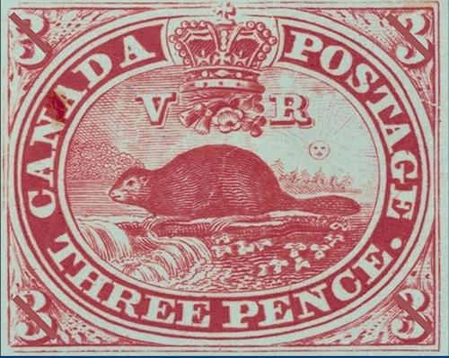 نخستین تمبر پستی کانادا که توسط سر سندفورد فلمینگ طراحی شد
