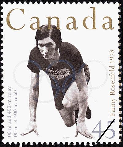 تمبر منتشر شده توسط پست کانادا در سال ۱۹۹۶ با تصویر فانی روزنفلد