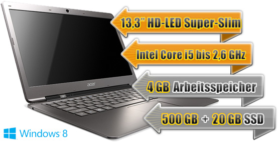 Ultrabook Acer Aspire S3 + Internet 5GB 34.99€