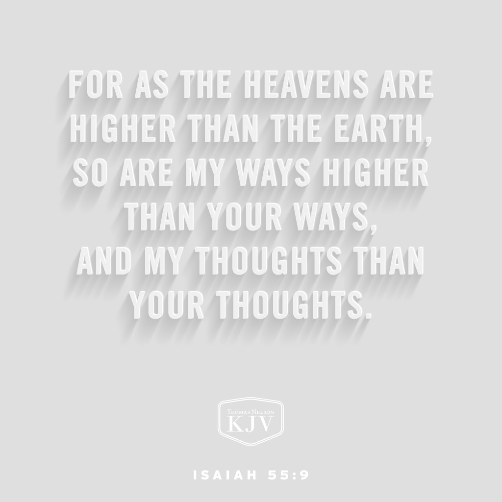 8 For my thoughts are not your thoughts, neither are your ways my ways, saith the Lord.  9 For as the heavens are higher than the earth, so are my ways higher than your ways, and my thoughts than your thoughts Isaiah 55:8-9