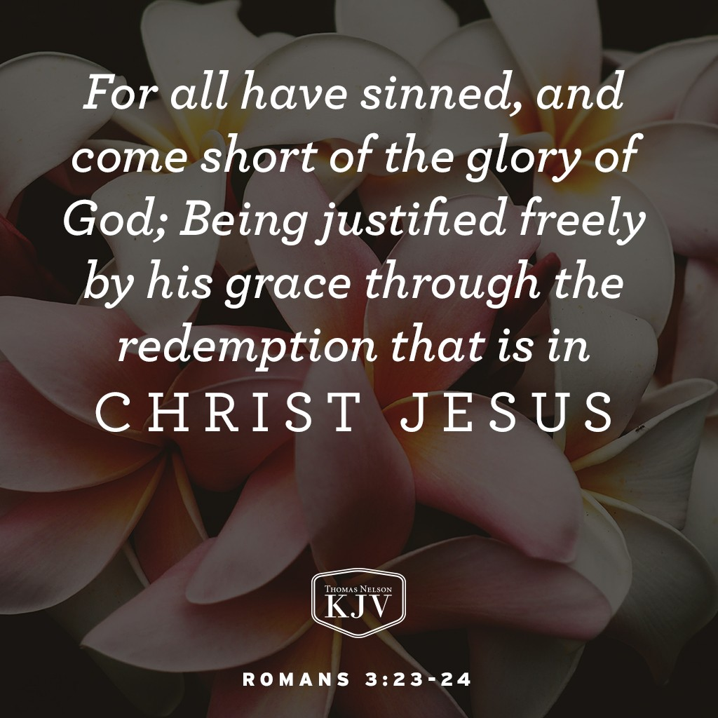 23 For all have sinned, and come short of the glory of God;  24 Being justified freely by his grace through the redemption that is in Christ Jesus. Romans 3:23-24