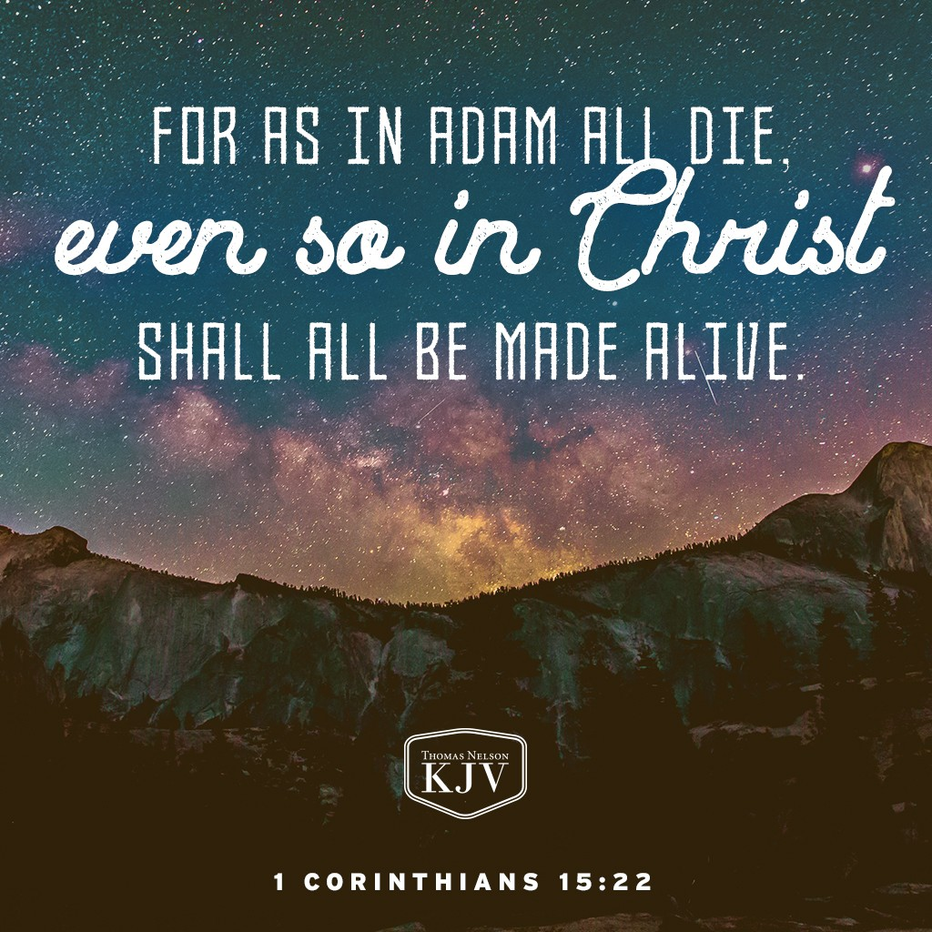 20 But now is Christ risen from the dead, and become the firstfruits of them that slept.  21 For since by man came death, by man came also the resurrection of the dead.  22 For as in Adam all die, even so in Christ shall all be made alive. 1 Corinthians 15:20-22