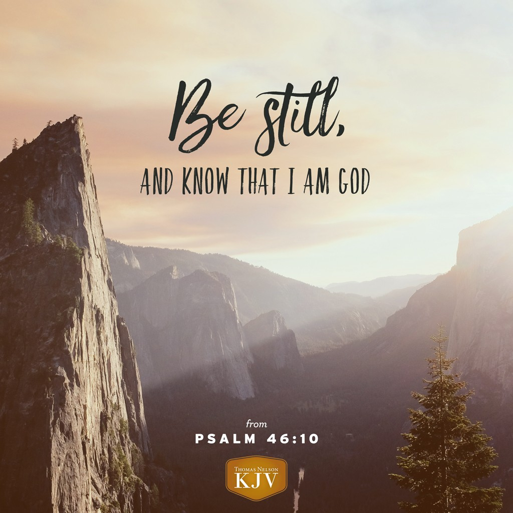 10 Be still, and know that I am God: I will be exalted among the heathen, I will be exalted in the earth. Psalm 46:10