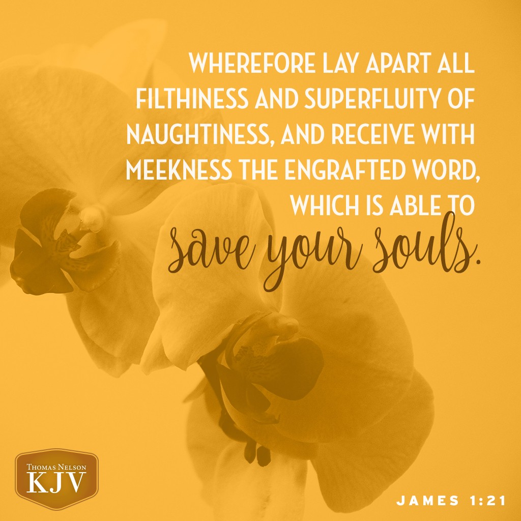 21 Wherefore lay apart all filthiness and superfluity of naughtiness, and receive with meekness the engrafted word, which is able to save your souls. James 1:21