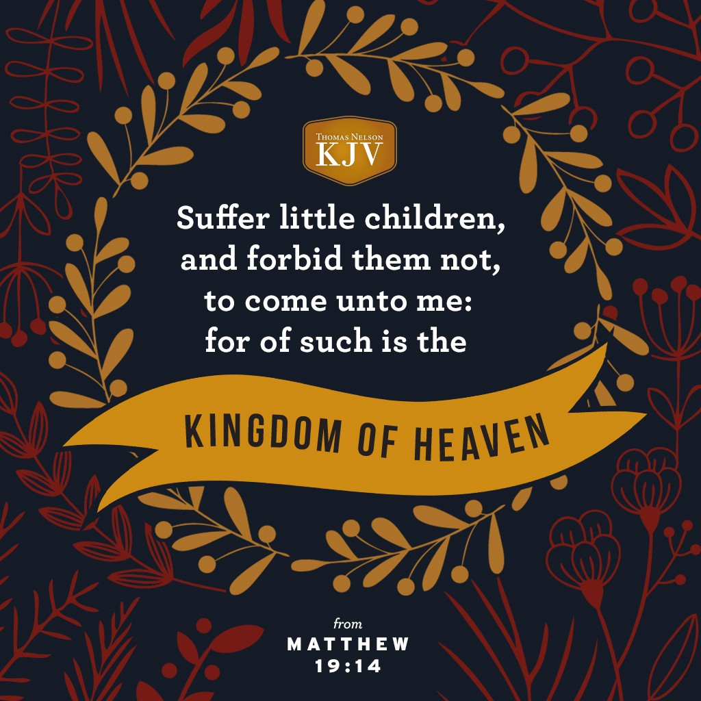 14 But Jesus said, Suffer little children, and forbid them not, to come unto me: for of such is the kingdom of heaven. Matthew 19:14