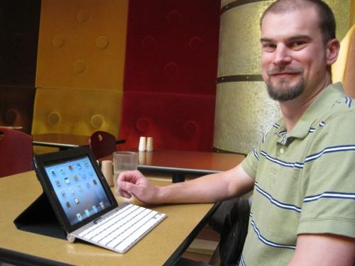 Adam at an Internet Cafe