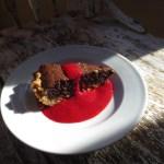 Dark Chocolate Holiday Pie With Raspberry Sauce