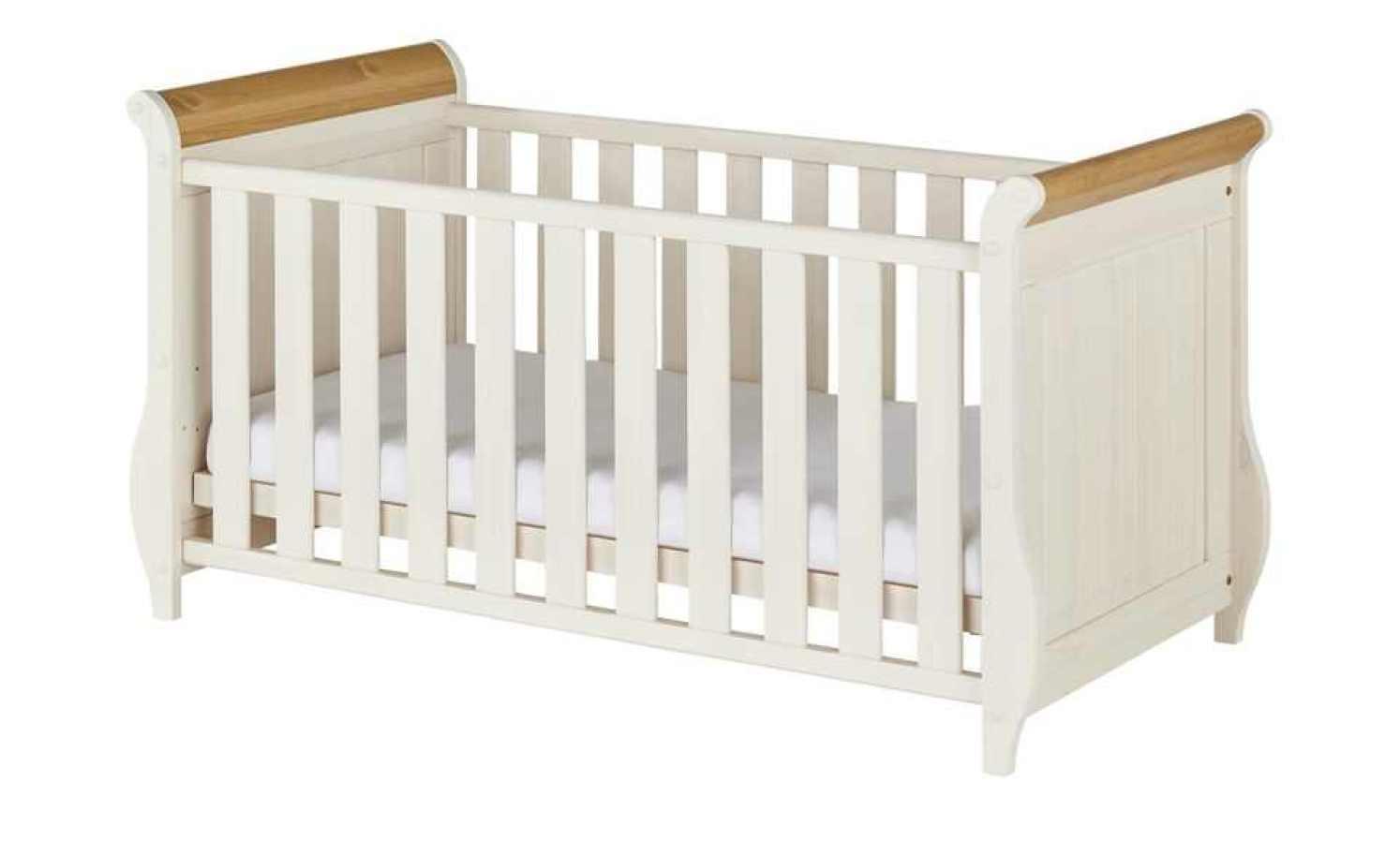 Kinderbett BORNHOLM Kiefer Weiß / Antikfarben