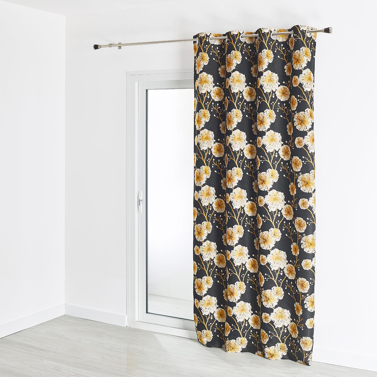 rideau jacquard motif vegetal grosses fleurs 140x260 cm noir