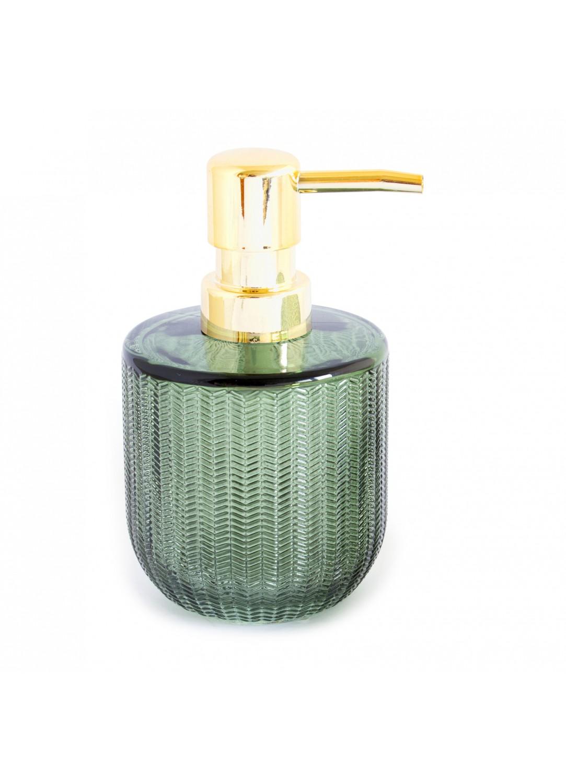 distributeur de savon en verre relief strie vert