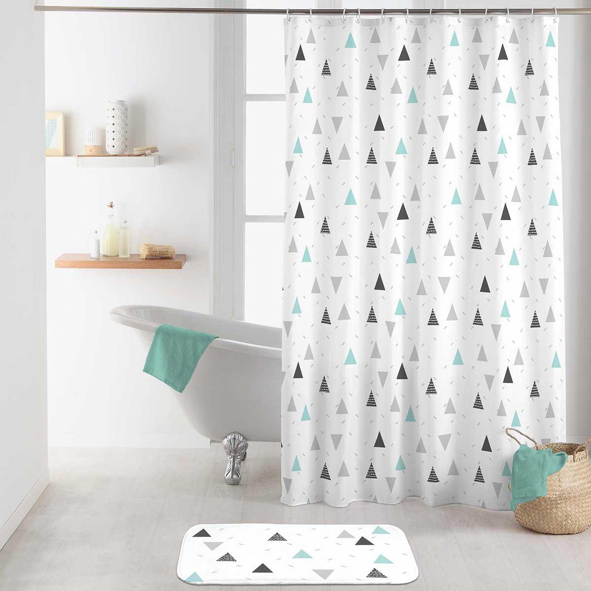 rideau de douche triangles en folie blanc