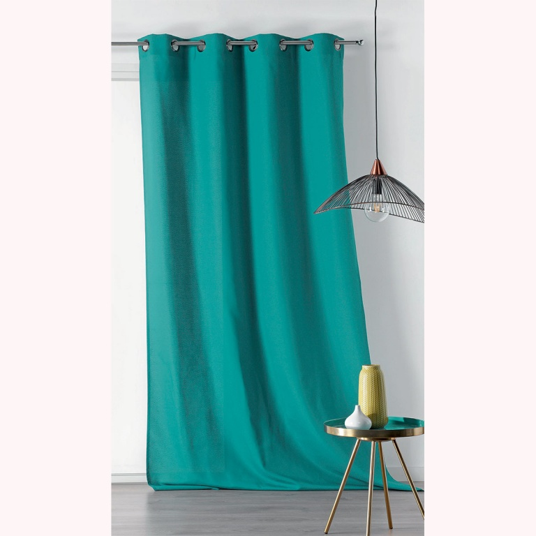 rideau uni en toile lourde bleu azur