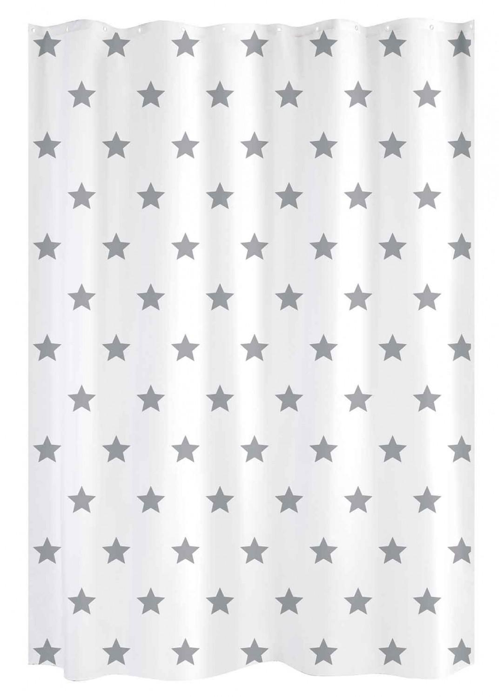 rideau de douche etoile blanc gris
