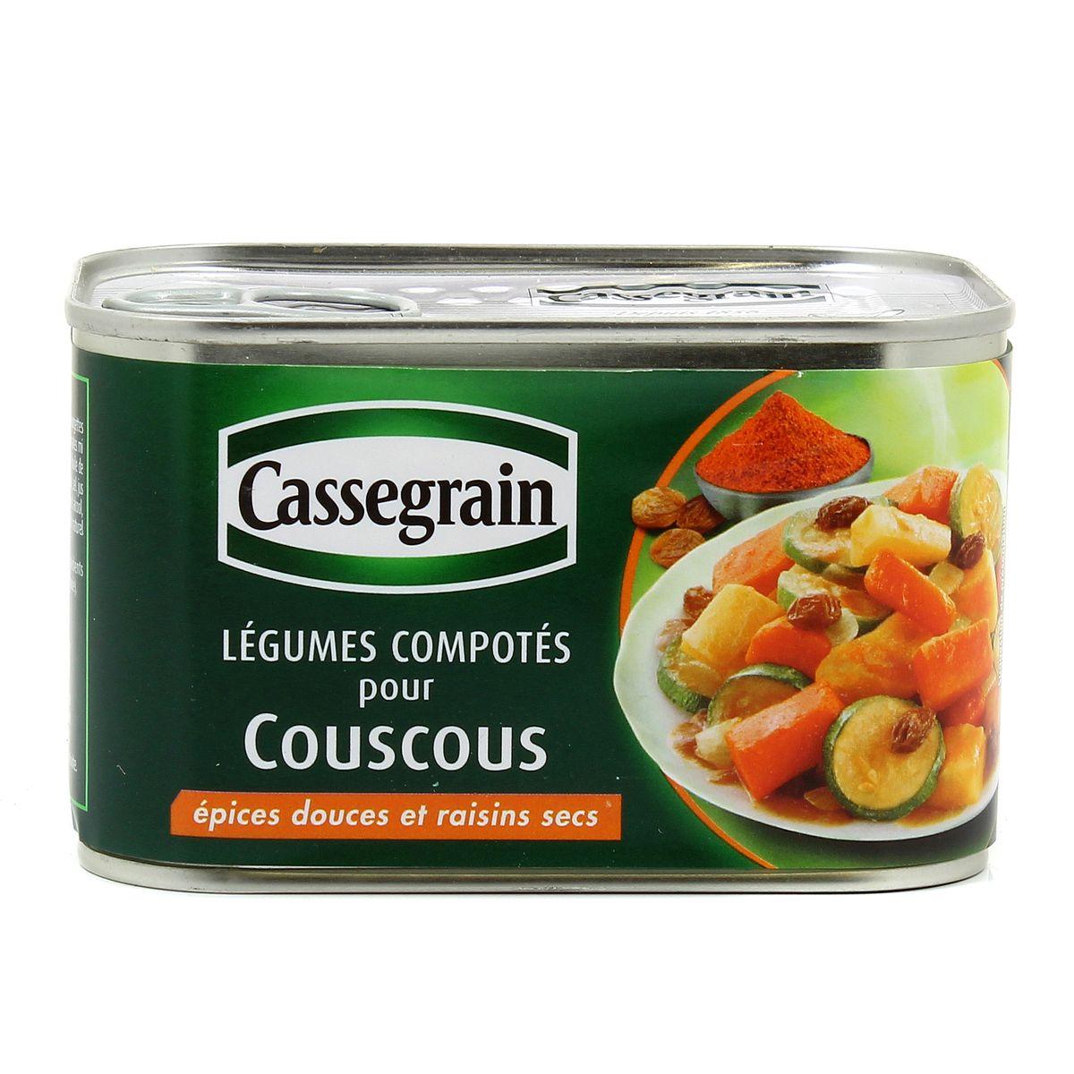 cassegrain legumes compotes pour couscous epices douces et raisins secs
