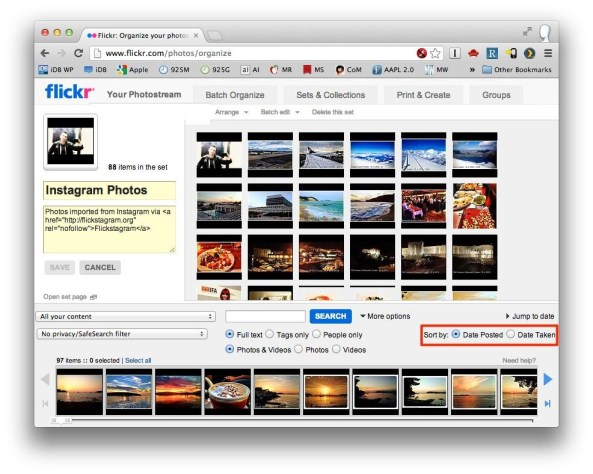 Flickr (Organizer, sort order)