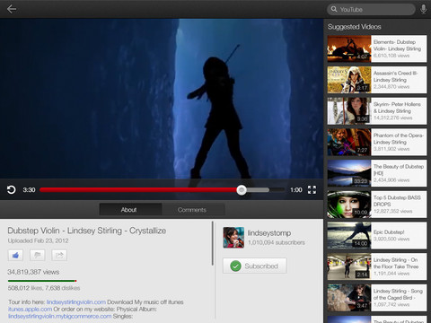 YouTube 1.1.0.4136 para iOS (iPad captura de pantalla y 002)