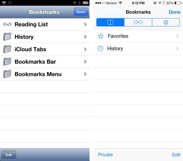 Bookmarks Tab iOS 6 vs iOS 7 safari