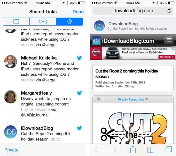 Shared Links iOS 7 Safari
