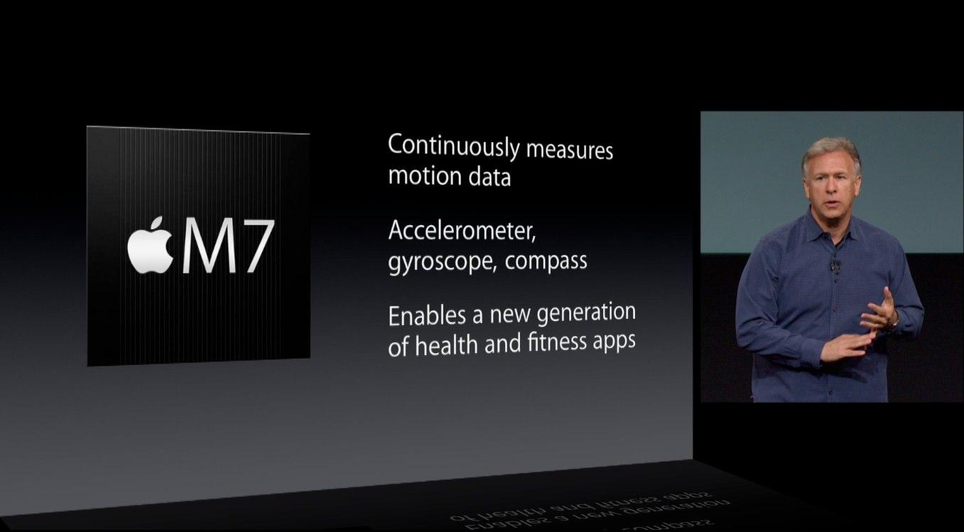iPhone 5s keynote (M7 specs slide)