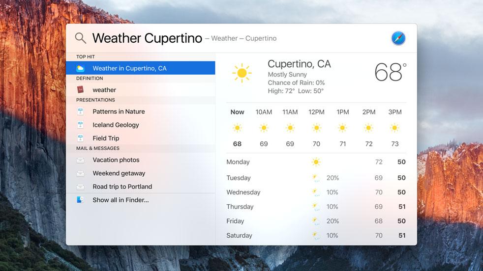 OS X El Capitan Spotlight