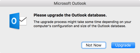 Please upgrade the Outlook database