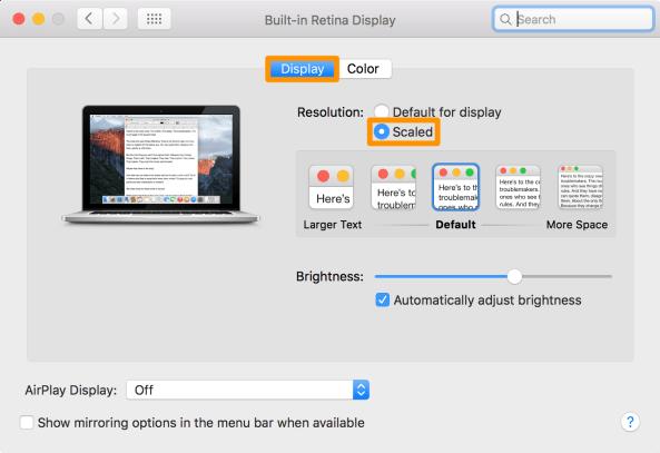 retina mac scaling system preferences 2