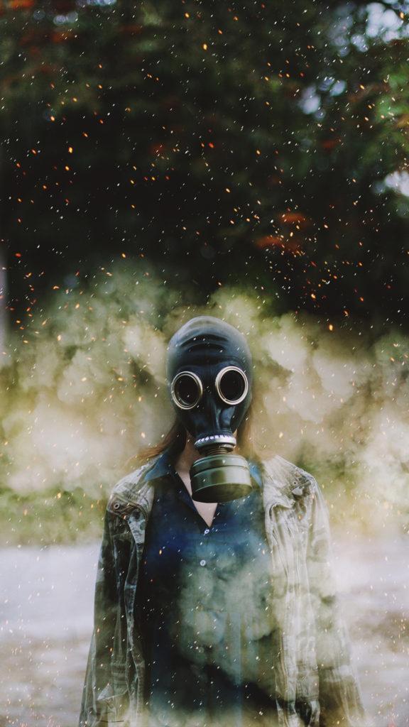 iPhone wallpaper abstract portrait gas mask macinmac