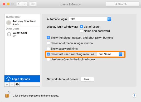 Mac OS X Show fast user switching menu setting