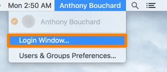 OS X Menu Bar Login Window Menu