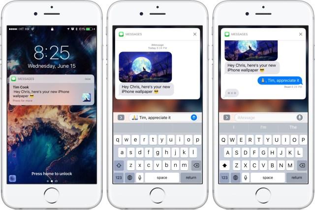 iOS 10 Khóa Tin nhắn của màn hình thông báo 3D cảm ứng iPhone chụp màn hình 001