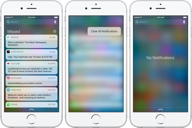 iOS 10 Khóa Trung tâm màn hình thông báo rõ ràng tất cả 3D cảm ứng iPhone chụp màn hình 001