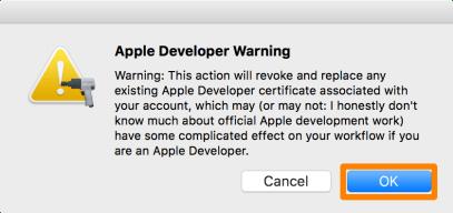 Của Apple Developer Cảnh báo Pangu OK