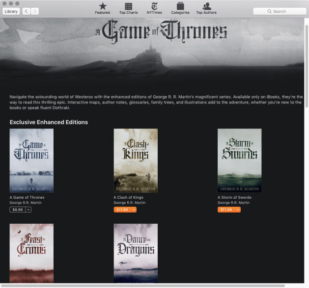 GAme of Thrones Enahnced Edition iBooks Store