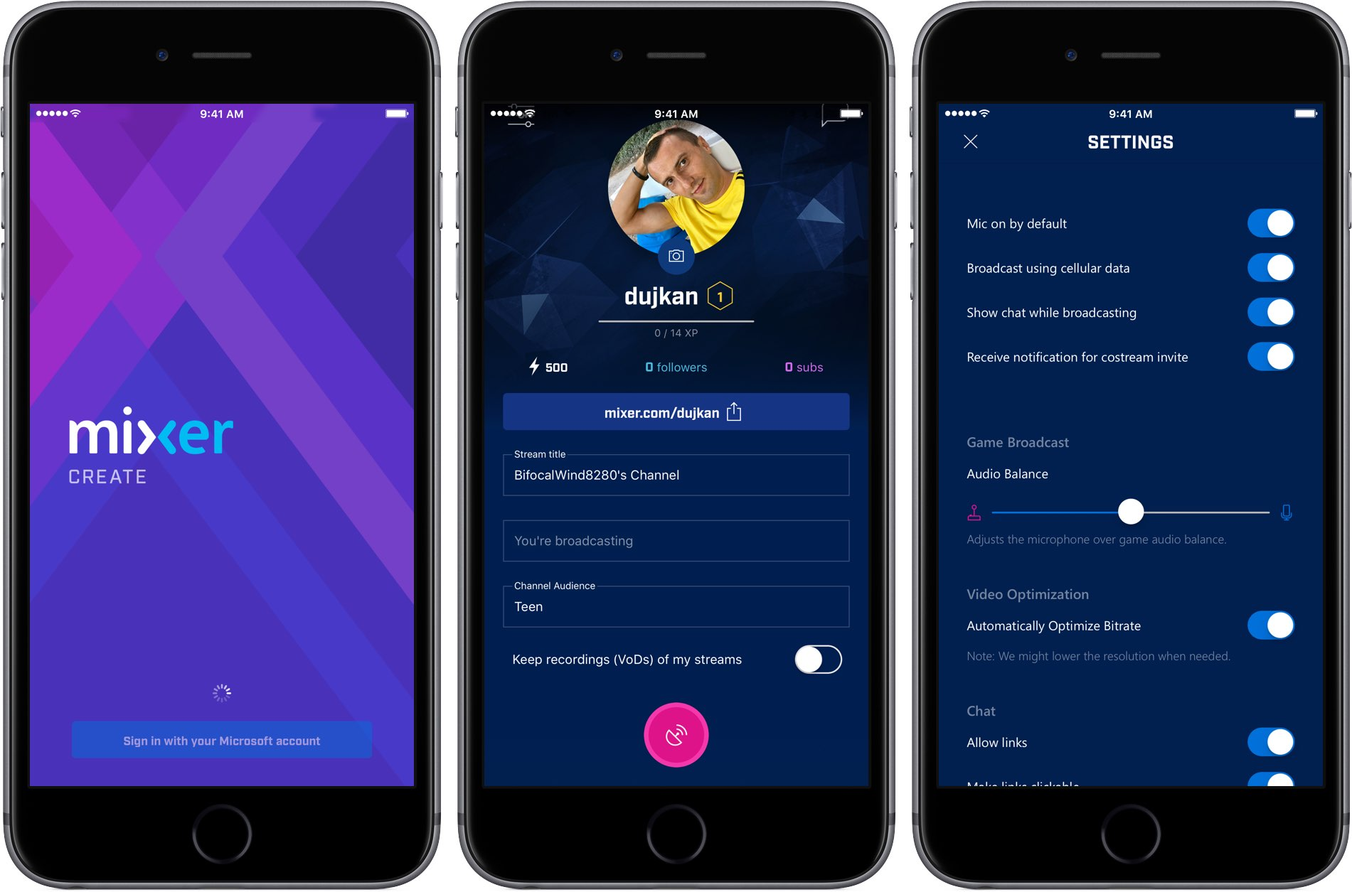 Microsoft Releases Mixer Create App For Broadcasting