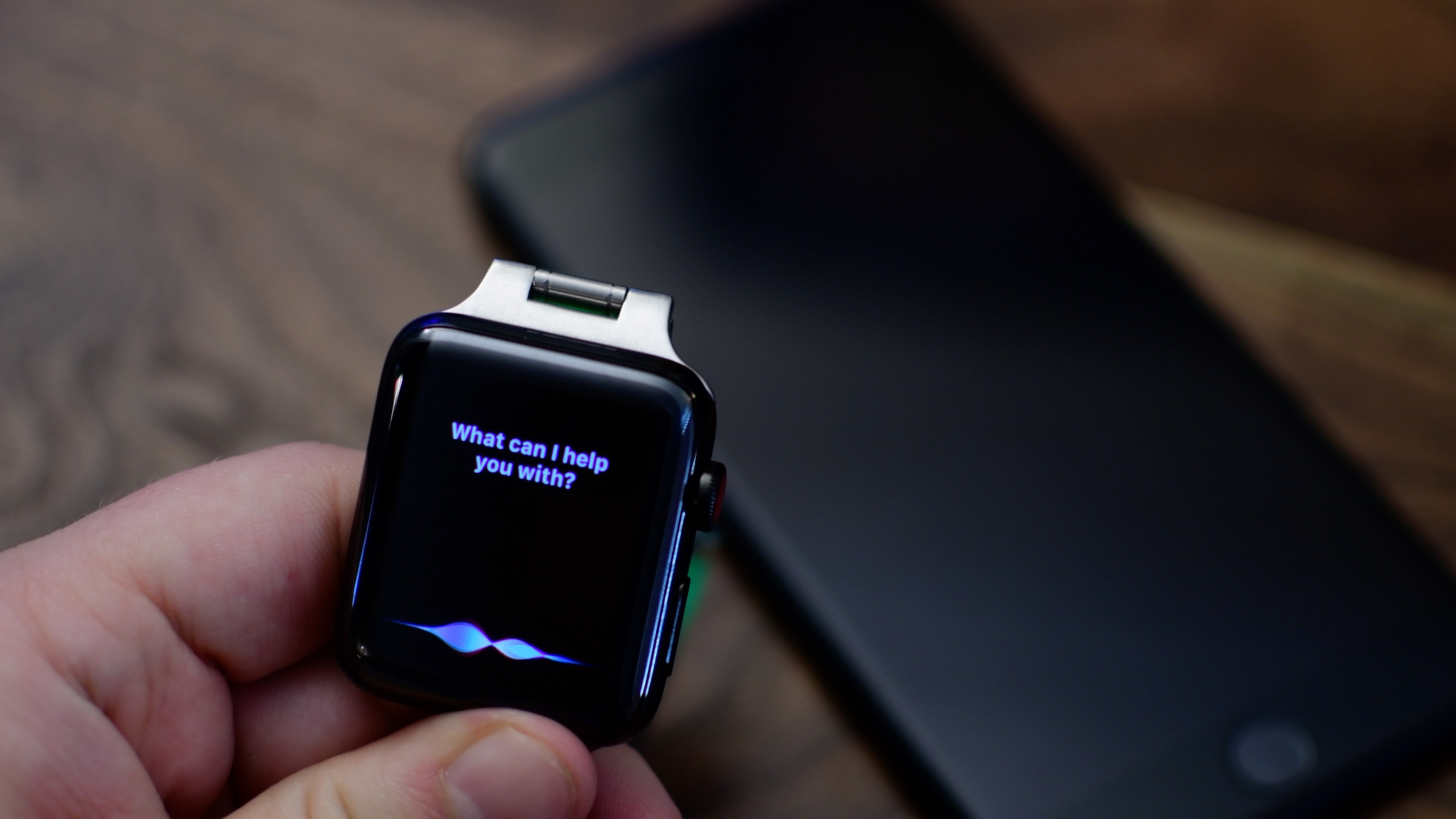 Apple Watch shown interacting with Siri. With watchOS 5, Series 3 owners can adjust the volume of Siri voice responses