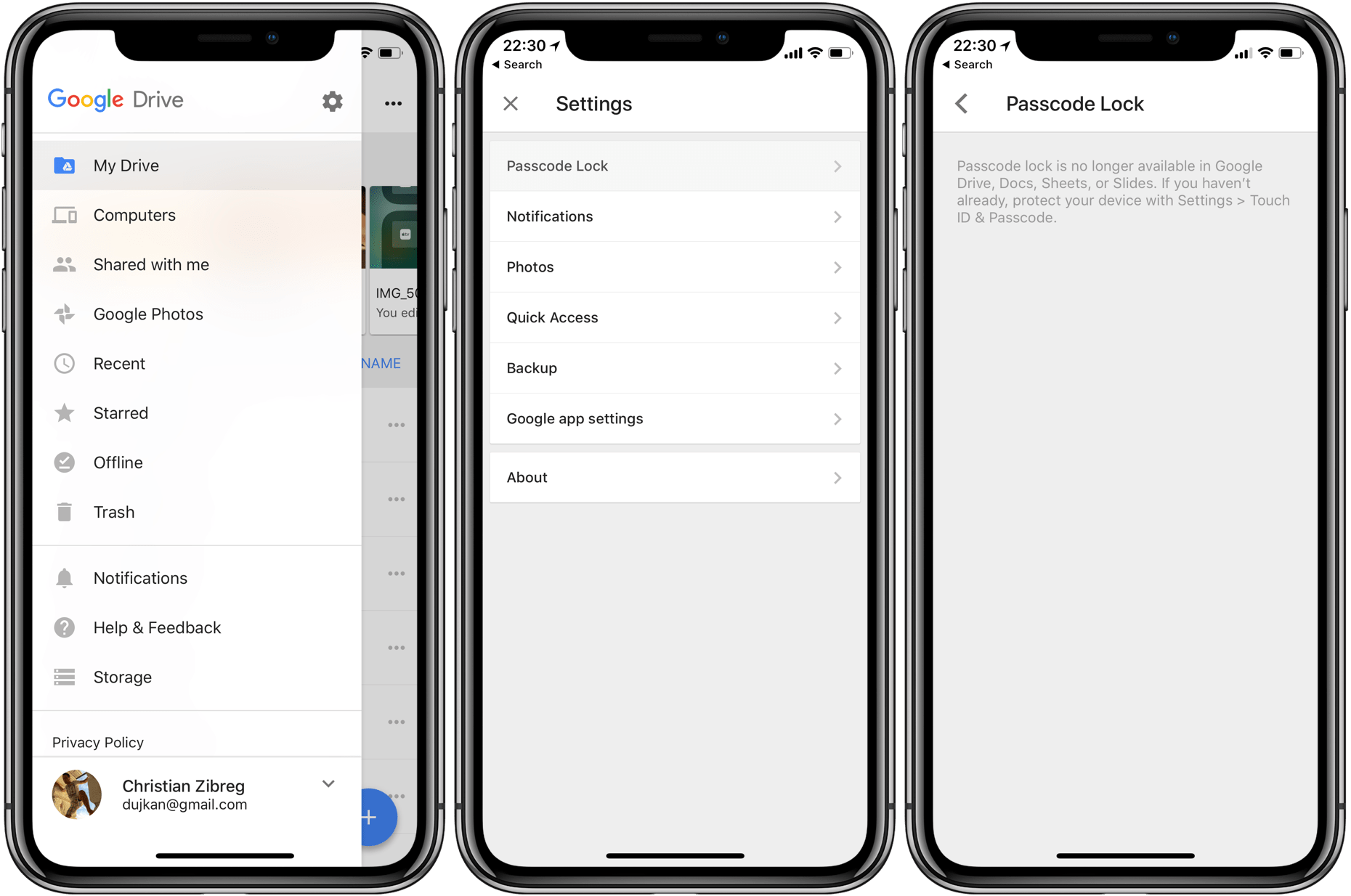 Removes Passcode Touch Id Face Id Lock From Drive Docs Sheets Amp Slides