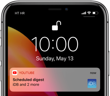 YouTube scheduled digest lock screen notification