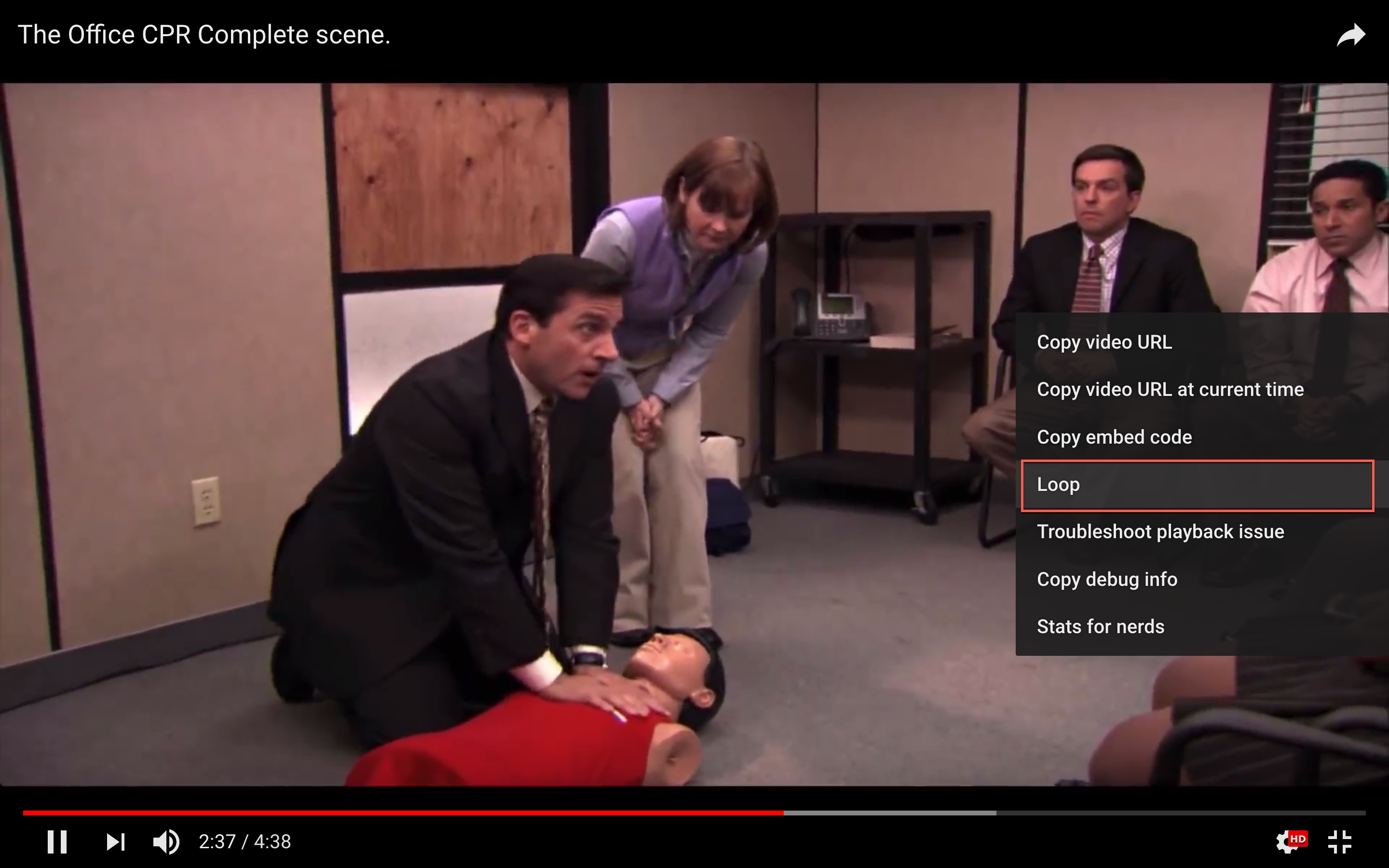 how to loop youtube videos - clip of The Office