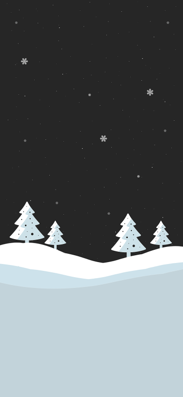 Christmas tree snow covered field wallpaper