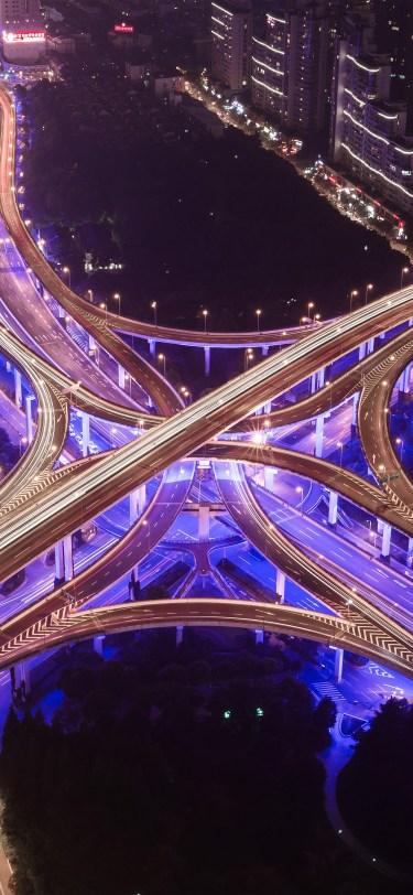 street-city-road-highway-purple-night-nature-iphone-X