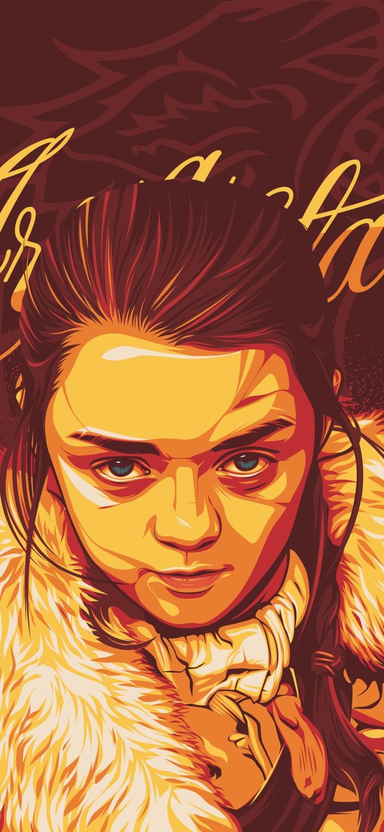 arya-stark-digital-art-z7-1125x2436 iPhone game of thrones wallpaper