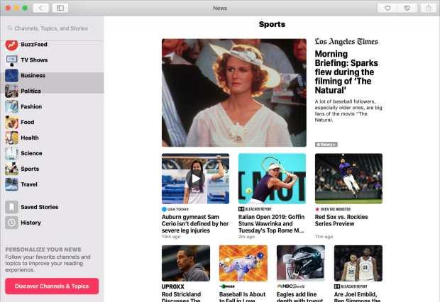 Apple News App on Mac Sports